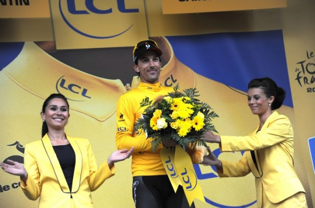 Team RadioShack-Nissan's Fabian Cancellara maintains overall Tour de France lead. Photo Fotoreporter Sirotti.