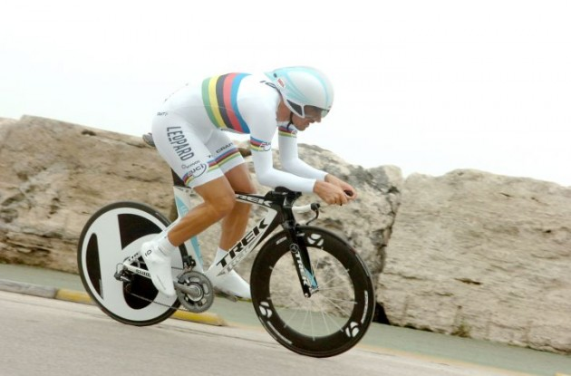 Fabian Cancellara, one of the world's top time-trial riders, won by outpacing Tony Martin of Germany, who was second, 17 seconds back. Bert Grabsch of Germany was third, 1 minute, 48 seconds behind the winner. Photo copyright Fotoreporter Sirotti.
