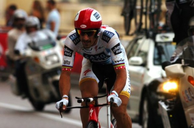 Today's winner Fabian Cancellara. Photo copyright Fotoreporter Sirotti.