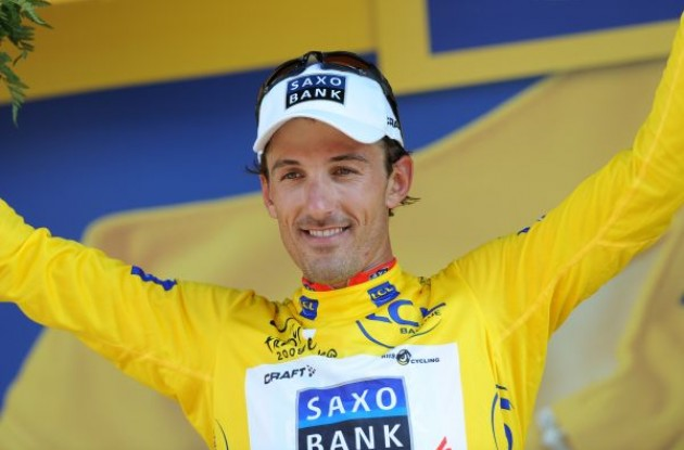 Fabian Cancellara (Team Saxo Bank) is still in yellow. Photo copyright Fotoreporter Sirotti.