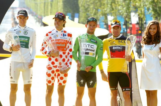 The four competition jerseys celebrated on the podium along with a bit of eye-candy for our readers. Photo Fotoreporter Sirotti.