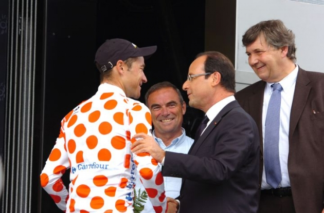 Thomas Voeckler meets the President of France Mr. Francois Hollande. Photo Fotoreporter Sirotti.