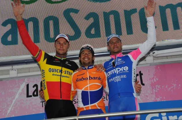 Oscar Freire, Tom Boonen and Alessandro Petacchi on the Milano-San Remo 2010 podium. Photo copyright Fotoreporter Sirotti.