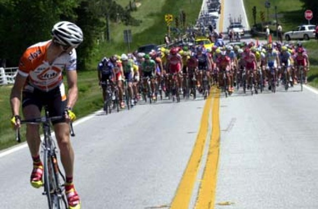 An Ofoto/Lombardi Sports rider leads 140 riders taking part in the Dodge Tour de Georgia's first stage. Photo copyright Michael Pugh.