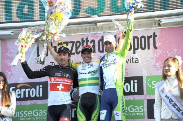 Cancellara, Gerrans and Nibali on the podium in San Remo. Photo Fotoreporter Sirotti.