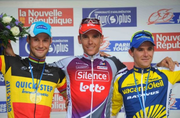 Gilbert, Boonen and Bozic on the podium. Photo copyright Fotoreporter Sirotti.