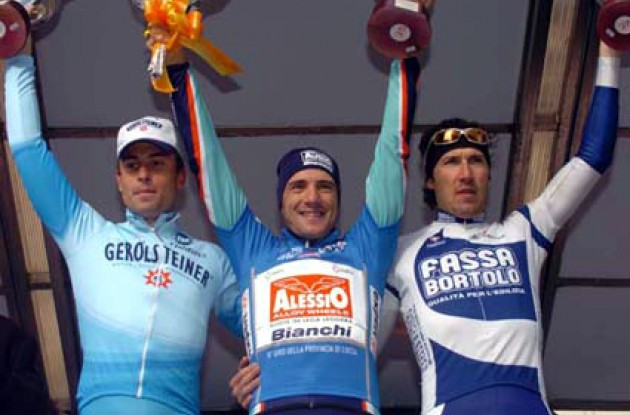 Ziegler, Bertolini and Tosatto on the podium. Photo copyright Fotoreporter Sirotti.