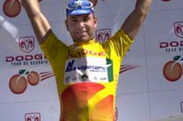 Henk Vogels (Navigators) wins the first stage of the Dodge Tour de Georgia. Photo copyright Michael Pugh.