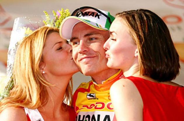 The podium girls make Hunter even happier. No wonder. Photo copyright Ben Ross/Roadcycling.com.