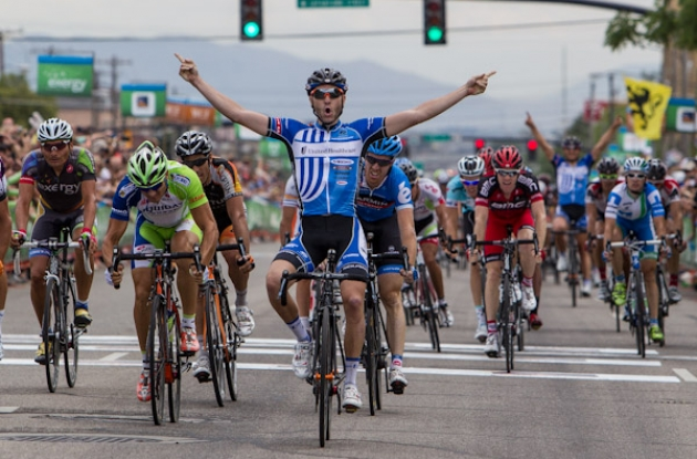 Jake Keough powers to stage victory. Photo copyright Jonathan Devich epicimages.us
