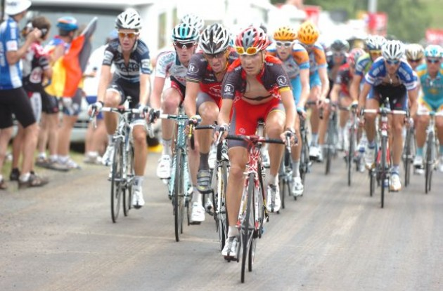 Janez Brajkovic leads the peloton ahead of teammate Lance Armstrong. Photo copyright Fotoreporter Sirotti.