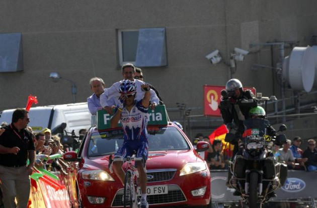 Joaquin Rodriguez wins stage 14 of the Vuelta a Espana 2010 for Team Katusha. Photo copyright Fotoreporter Sirotti.