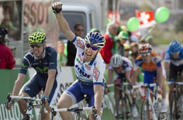 Jonathan Hivert wins stage 2 of the 2012 Tour of Romandy.