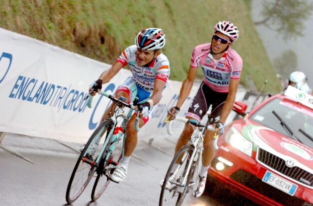 Jose Rujano leads Alberto Contador up the final Grossglockner climb. Photo Fotoreporter Sirotti.