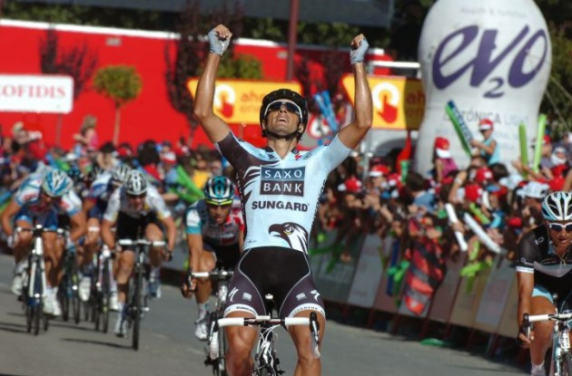Juan Jose Haedo powers to victory in stage 16 of the Vuelta a Espana 2011. Photo Fotoreporter Sirotti.