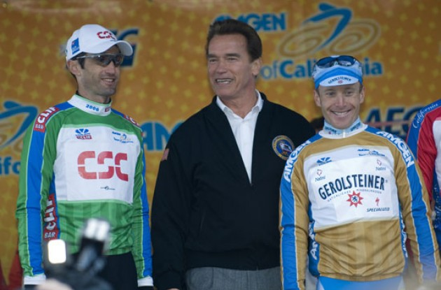 Julich, Arnold, and stage winner Levi Leipheimer. Photo copyright Roadcycling.com.