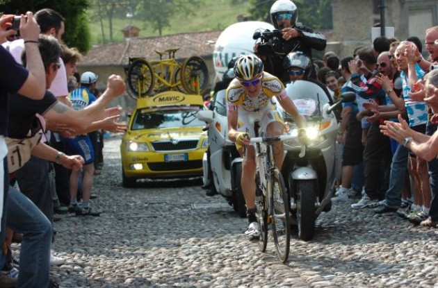Konstantin Siutsou on his way to victory in a grand tour. Photo copyright Fotoreporter Sirotti.