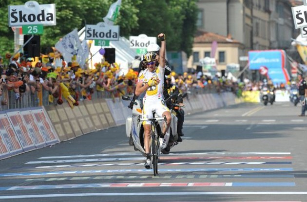Kanstantsin Sivtsov (Team Columbia-Highroad) takes the stage win after escaping from the peloton in beautiful fashion. Photo copyright Fotoreporter Sirotti.