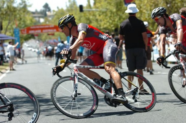 Lance Armstrong (Team RadioShack) tackles a corner in downtown Adelaide, Australia. Photo copyright Fotoreporter Sirotti.