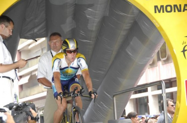 Lance Armstrong (Team Astana) on the start ramp in Monaco. Photo copyright Fotoreporter Sirotti.