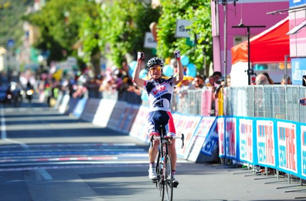 Team Lotto-Belisol's Lars Bak (Denmark) soloes to stage 12 victory in 2012 Giro d'Italia. Photo Fotoreporter Sirotti.