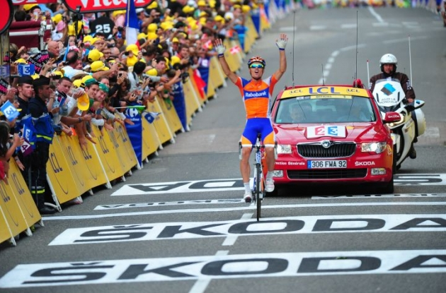 Luis Leon Sanchez wins stage 14 of the 2012 Tour de France. Photo Fotoreporter Sirotti.