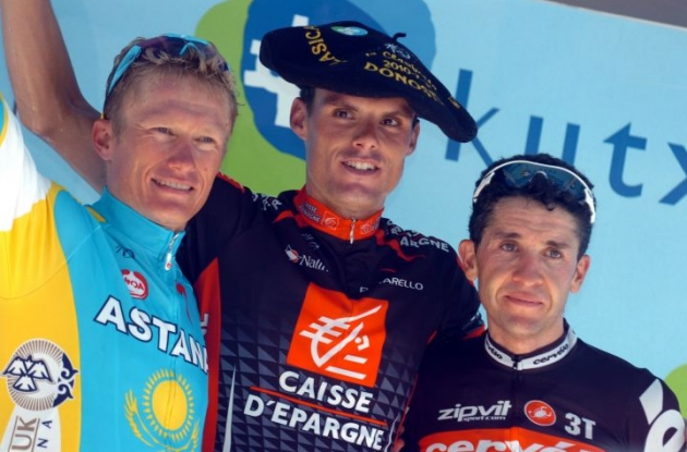 Luis Leon Sanchez, Carlos Sastre and Alexandre Vinokourov on the podium in San Sebastian. Photo copyright Fotoreporter Sirotti.
