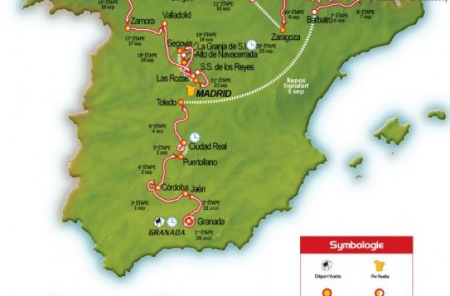 2008 La Vuelta a Espana map / 2008 Tour of Spain map and route.