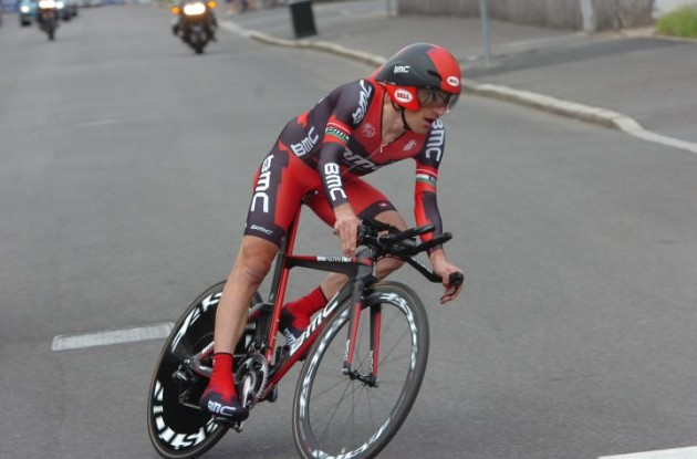 Team BMC Racing's Marco Pinotti on his way to victory on his BMC timemachine TM01 time trial bike in the final time trial of the 2012 Giro d'Italia. Photo Fotoreporter Sirotti.