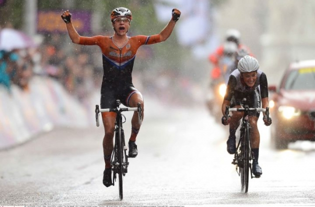 Marianne Vos of the Netherlands wins the women's road race of the 2012 London Olympics ahead of Great Britain's Elizabeth Armitstead. Photo copyright Tim de Waele.
