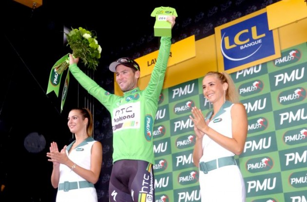 Mark Cavendish won the green points jersey competition in his final Tour de France participation for Team HTC-HighRoad. Photo Fotoreporter Sirotti.