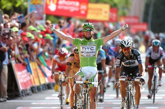 Mark Cavendish strikes again winning stage 18 of 2010 Tour of Spain for Team HTC-Columbia. Photo copyright Fotoreporter Sirotti.