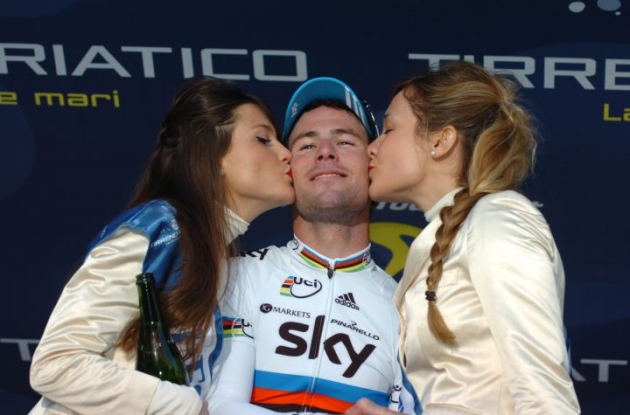 Mark Cavendish glowing on the podium. Good luck in Spain Fantastic Mr. Fox. Photo copyright Fotoreporter Sirotti.
