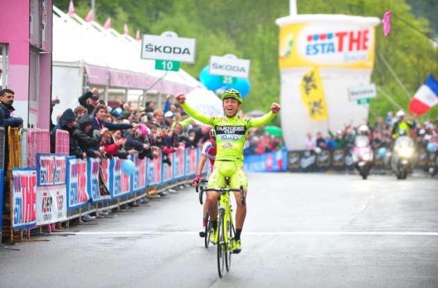 Matteo Rabottini of Team Farnese Vini - Selle Italia victorious in stage 15 of the 2012 Giro d'Italia. Photo Fotoreporter Sirotti.