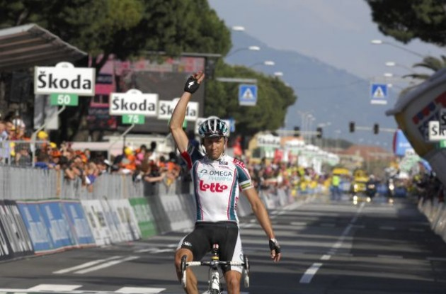 Matthew Lloyd wins for Team Omega Pharma-Lotto. Photo copyright Fotoreporter Sirotti.