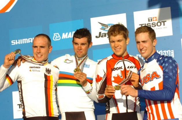 Michael Matthews, Germany's John Degenkolb, USA's Taylor Phinney and Canada's Guillaume Boivin on the podium. Photo Fotoreporter Sirotti.