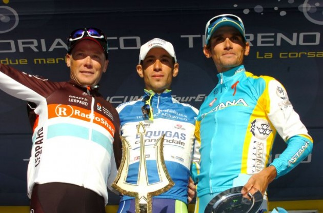 Vincenzo Nibali, Christopher Horner and Roman Kreuziger on the podium. Photo Fotoreporter Sirotti.