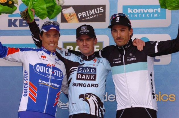 Nick Nuyens, Sylvain Chavanel and Fabian Cancellara on the podium. Photo Fotoreporter Sirotti.