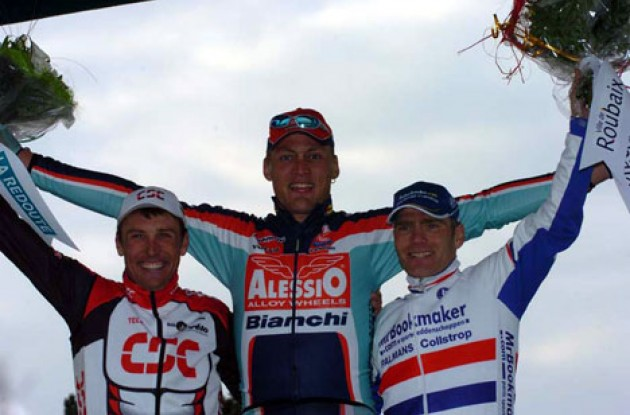 Backstedt (middle), Hoffman (left) and Hammond on the podium in Roubaix. Photo copyright Fotoreporter Sirotti.