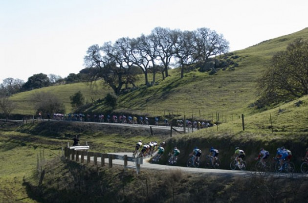 Riders pass through the beautiful Californian landscape. Photo copyright Roadcycling.com.