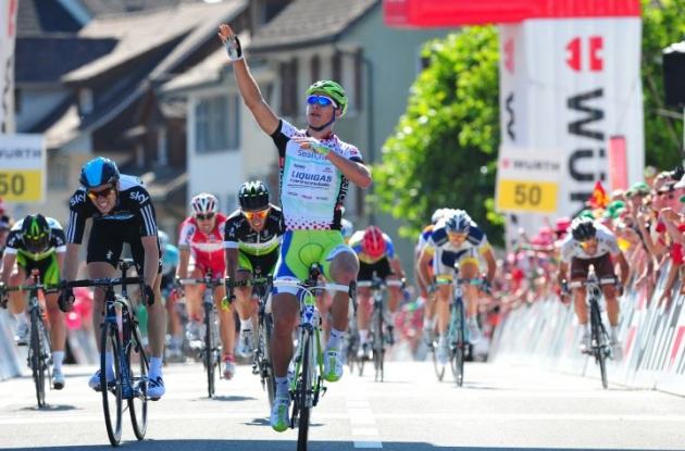 Team Liquigas-Cannondale's Peter Sagan wins stage 5 of the 2012 Tour of Switzerland.Photo Fotoreporter Sirotti.