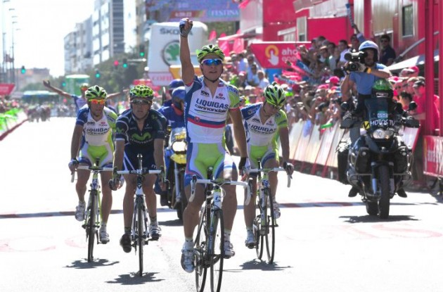 Peter Sagan wins again. Photo copyright Fotoreporter Sirotti.