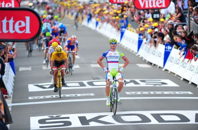 Team Liquigas-Cannondale's Peter Sagan wins stage 1 of 2012 Tour de France. Photo Fotoreporter Sirotti.
