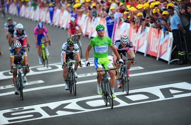 Team Liquigas-Cannondale's Peter Sagan wins stage 6 of 2012 Tour de France. Photo Fotoreporter Sirotti.