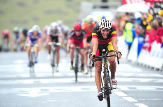 Philippe Gilbert crosses the finish line in 2nd. Photo Fotoreporter Sirotti.