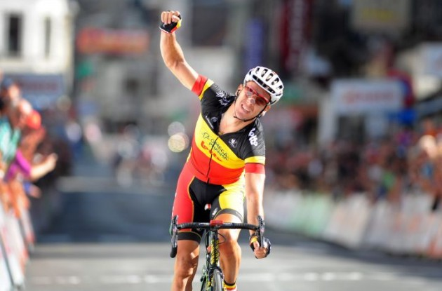 Philippe Gilbert (Team Omega Pharma-Lotto) wins the 2010 Amstel Gold Race. Photo copyright Fotoreporter Sirotti.