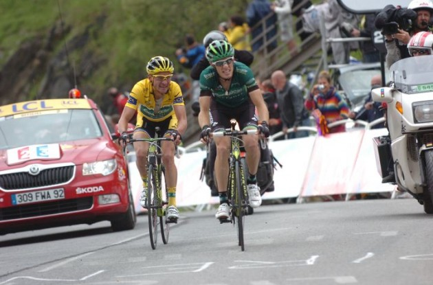 Thomas Voeckler worked hard today and showed great courage - In return he managed to keep his overall Tour de France lead and the yellow jersey. Photo Fotoreporter Sirotti.