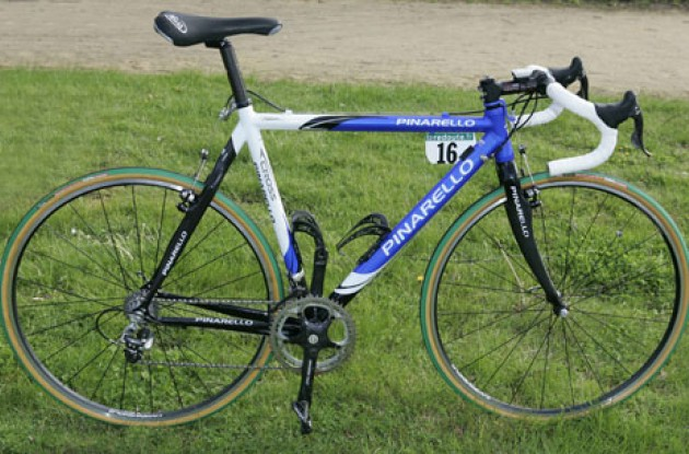 The Pinarello Dogma FP - a mix between a regular road bike and a cross bike. Photo copyright Roadcycling.com.