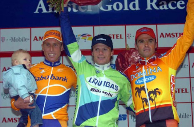 Boogerd Jr., Boogerd, Di Luca, and Celestino on the podium. Photo copyright Fotoreporter Sirotti.