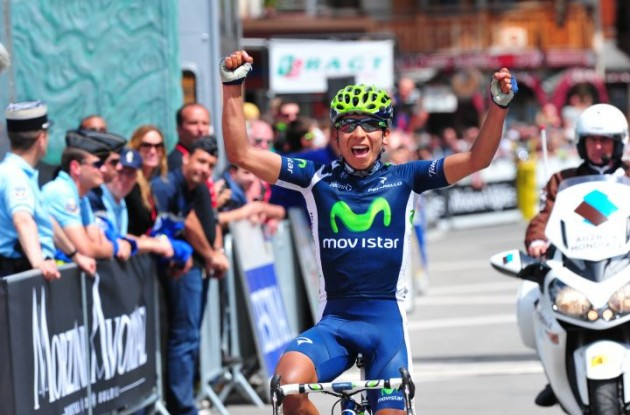 Team Movistar's Nairo Alexander Quintana rides to stage 6 victory in 2012 Criterium du Dauphine  Libere. Photo Fotoreporter Sirotti.